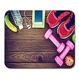 Mauspad Fitness Healthy and Active Lifestyles Hanteln Sport Schuhe Flasche Mauspad für Notebooks,...