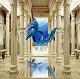 Fototapete Moderne Europäische Stil Flying Dolphin Rom Spalte Einfache Wohnzimmer Sofa 3D Wandbilder(W)400x(H)280cm