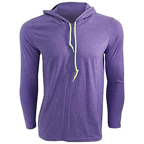 Anvil Mens Fashion Plain Long Sleeve Hooded T-Shirt (M) (Heather