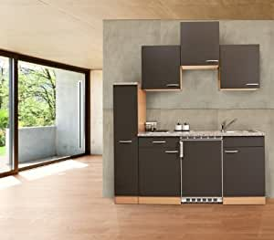 Respekta kB180BGC mini cuisine single bloc 150 cm imitation hêtre gris céramique