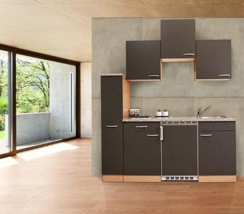 respekta KB180BGC Single Mini Küche Küchenzeile Küchenblock 150 cm Buche GRAU CERAN
