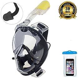 Masque de plongée ORSEN Easybreath - Avec tuba et bouchons d'oreilles - Champ de vision à 180 degrés - Pour adulte, enfant - Avec monture pour appareil photo Gopro - Matière FDA, L/XL schwarz
