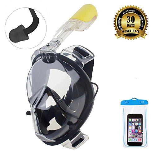 ORSEN Easybreath Taucherbrille schnorchelset tauchmaske vollgesichtsmaske schnorchelmaske tauchset mit Earplug /180 Grad Blickfeld für Erwachsene ,Kinder ,Gopro Kamera --FDA Matrial (Schwarz, S/M)