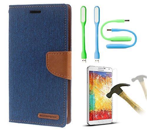 Samsung Galaxy Grand Quattro GT-I8552 Premium Wallet Flip Case Cover (Matte Blue + Tempered+LED Light) by Mobile Life