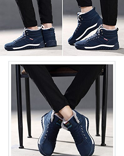 Minetom Herren Winterschuhe Warm Gefüttert Schneestiefel Winter Sneaker Outdoor Boots Winterstiefel Schneestiefel Schnür Kurz Stiefel Grün