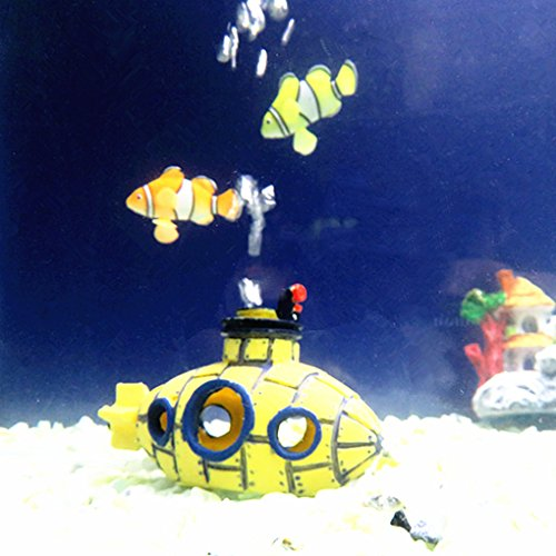 masterein Yellow Submarine Fisch Höhle Schiffswrack Aquarium Ornament Fisch Tank Dekoration