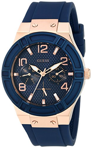 ess Steel Silicone Casual Watch, Color: Rose Gold-Tone/Rigor Blue (Model: U0571L1) ()