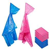 Juvale Kids Rain Ponchos with Hood (10-Pack) - Durable Disposable Emergency Poncho (Blue / Pink)