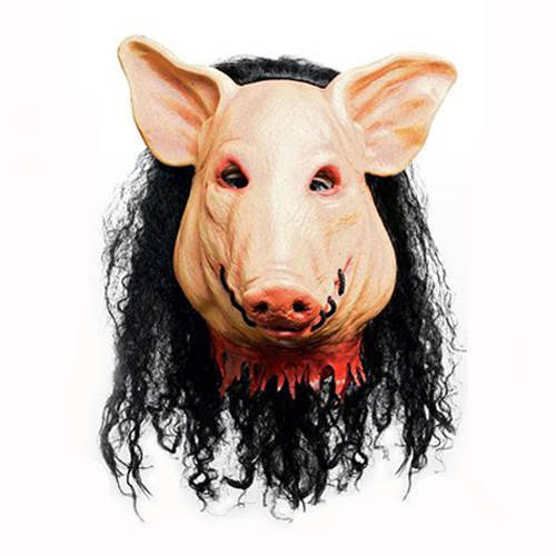 Maske Saw Pig / Schwein mit Haar aus (Halloween Kinder Jigsaw Kostüm)