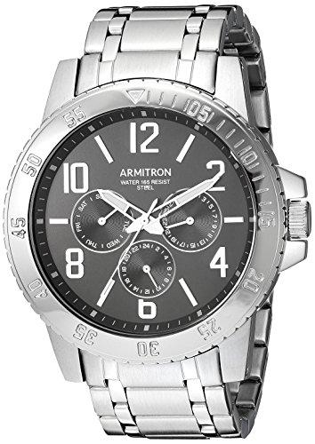 Armitron Men's Quartz Stainless Steel Dress Watch, Color:Silver-Toned (Model: 20/5214BKSV)