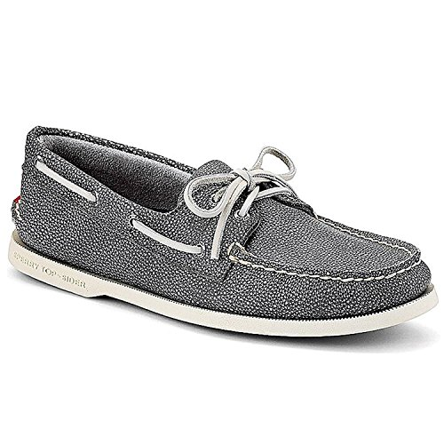 Sperry Athletic Sneakers (Sperry Top-Sider Men's A/O 2-Eye Washed,Grey Full Grain Leather,US 8 M)