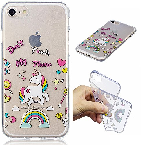 Cover iPhone 5 5S SE, E-Unicorn Custodia Cover iPhone 5 5S SE Trasparente con Disegni Unicorno Silicone Morbido TPU Gomma Morbida Colorate Ultra Slim Bumper Case Retro Elegante Modello Protezione Prot Unicorno