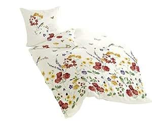 Bierbaum 6477_01 Dessin Parure de lit en satin de coton mako Multicolore 135 x 200 cm + 80 x 80 cm