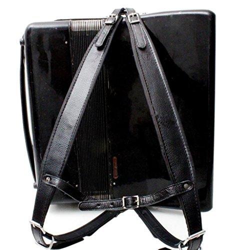 Musik First, schwarz Farbe echt Leder bequemer, gepolsterter Akkordeon Gürtel 96Bass 120Bass Akkordeon Soft Schultergurt Set