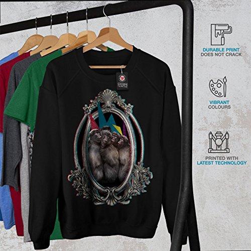 Singe Ami Fête Drôle Femme S-2XL Sweat-shirt | Wellcoda Noir
