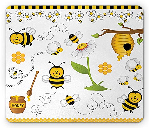 SHAQ Collage Mouse Pad Mauspad, Flying Bees Daisy Honey Chamomile Flowers Pollen Springtime Animal Print, Standard Size Rectangle Non-Slip Rubber Mousepad, Yellow White Black -