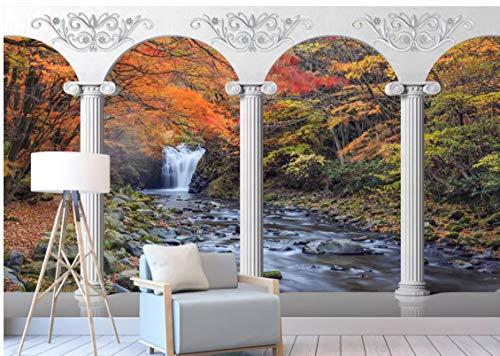 VVBIHUAING 3D Wandbilder Wand Aufkleber Dekorationen Tapete Herbst Waldlandschaft Dekorativ Kunst Kinder Zimmer (W) 250x(H) 175cm
