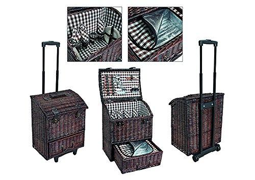Picknickkorb Trolley, braun-weiß, gestreift | Picknick Set für 4 Personen | 29 Teile