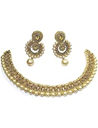 Shree Mauli Creation Golden Alloy Golden Stone Polki Drop Necklace Set For Women SMCN512