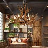 Geweih Kronleuchter Vintage Style Harz 6 Licht Geweih Kronleuchter Wohnzimmer Bar Cafe Esszimmer