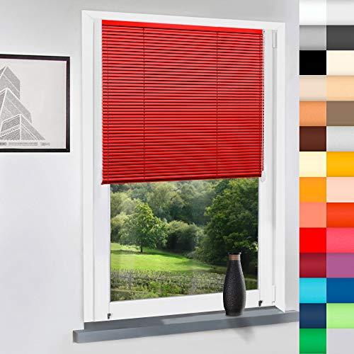 Aluminium Jalousie nach Maß, Endloskette, Kette, Monocomando, Maßanfertigung, für Fenster und Türen, Alu, Fenster, Klemmfix ohne Bohren (Rot, Höhe: 100cm x Breite: 80cm)