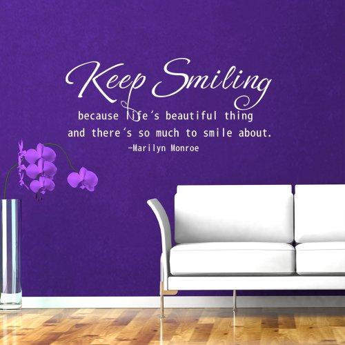 """Preisvergleich Produktbild WallsUp Wandaufkleber / Wandtattoo Marilyn Monroe Zitat englischer Text""""Keep Smiling because life is a beautiful thing"""" (auf Deutsch: Kopf hoch,  denn das Leben ist was Schönes),  Vinyl - 26 x58 - Custom"""