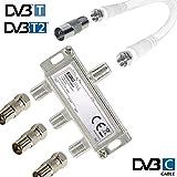 TronicXL 3fach IEC Verteiler Antennenverteiler TV Kabel Adapter Kabelfernsehen 3 er zb für Unitymedia Spliter