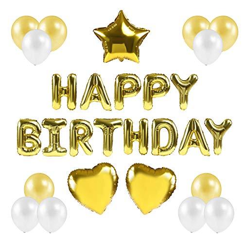 Kesote Conjunto de Globos de Cumpleaños Globos 'Happy Birthday' Decoraciones de Cumpleaños 16 Globos de Papel + 12 Globos Latice, Oro