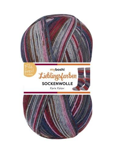 Neu Lieblingsfarben Socken-Wolle 4-Fädig Häkel-Strickgarn für Strümpfe je 100 g Pro Knäuel und 420 m Lauflänge, Maschinenwaschbar bis 40 Grad …Karin Kaiser (Superwash-wolle-socke-garn)