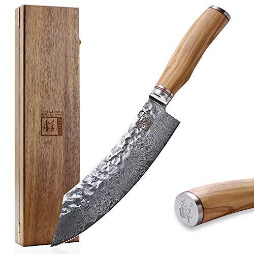 Zayiko Olive Damastmesser Blockmesser - sehr hochwertiges sehr scharfes Profi Messer mit Damast Klinge 20,5 cm, Küchenmesser, Kochmesser