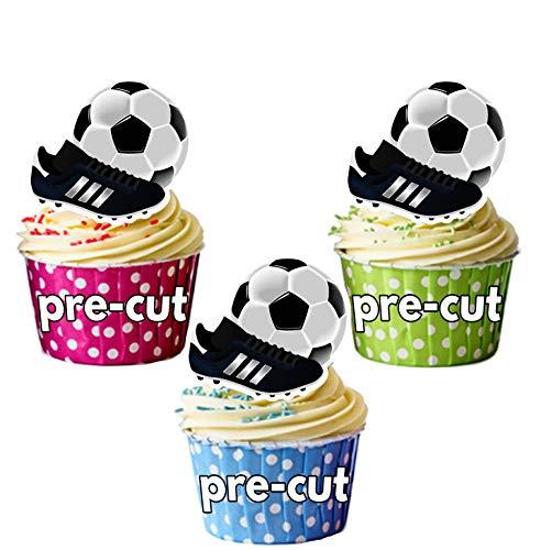 Kuchendekoration, Design: Fußball und Schuh,essbar, für Cupcakes und kleine Kuchen geeignet, 12Stück