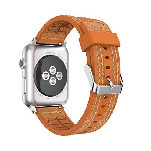 Series Braun 3 360 (Für Apple iWatch Band, yustat Weiche Silikon echtem Lederband Sport Handgelenk Band Ersatz für Apple Watch Serie 12und 3, braun)
