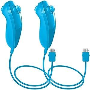 Nunchuck Controller per Nintendo Wii U, AFUNTA 2 pacchetti di ricambio per WII U Video Game - Azzurro