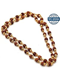 Jaipur Gems Gold Plated Rudraksha Chain Necklace For Men And Women