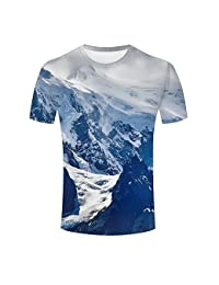 ouzhouxijia Mens 3D Print Snowy Mountains Short Sleeve T Shirts Casual Graphics Tees