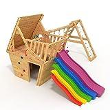 BIBEX® Spielturm - Wunderhauschen + Rutsche, 2xSchaukel, Knotennetz, Klettersteine, Mobel