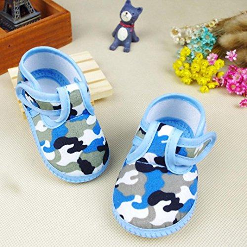 Saingace Fille Garçon Camouflage doux Sole Crib Toddler Sneaker Chaussures de Toile (12(10.5cm), Rose) Bleu
