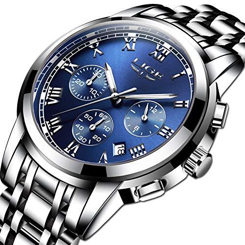 d43e0d72eb Orologi da uomo, LIGE Luxury Brand Orologio al quarzo analogico in acciaio  inossidabile Orologi sportivi