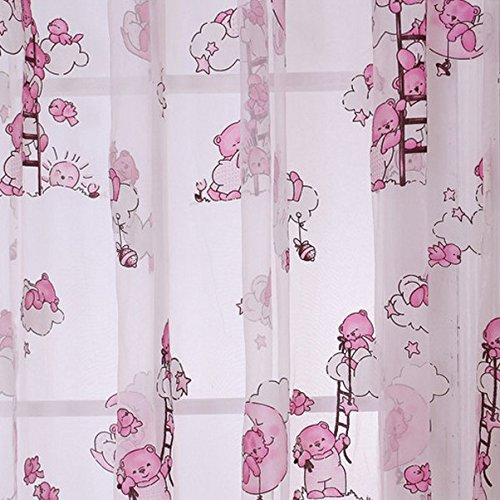 Seguryy - 1pz tende, motivo orso, 1 x 2 m, colore: rosa