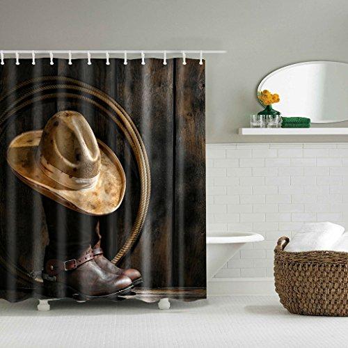 GUBENM Duschvorhang, Western Theme Cowboy Stiefel Hut Polyester Stoff Duschvorhang mit 12 Haken Set Dusche Vorhang-stab-hardware