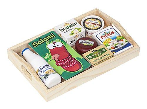 Polly Kaufladen Zubehör Set Käse, Milch auf Dem Holztablett | Kinder Spielzeug für den Kaufmannsladen | Kinderkaufladen Miniaturen