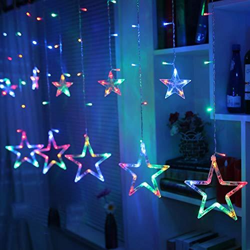LED Lichterkette Star vorhang lichterkette,Innen- und Außen Deko Glühbirne,2.5m 138LEDs String Lichter Lights für Weihnachten Hochzeit Party Weihnachtsbaum Haushalt Garten weihnachten deko (Farbe)