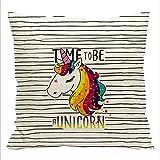 HENGSONG Stripes Licorne Cartoon Impression Carré Housse Coussin Linge de Coton Sofa Couverture Oreiller Taie Maison Decor 45x45cm
