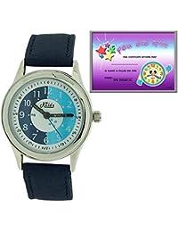 Montre Enfant Pédagogique à Quartz Relda Bracelet Bleu Marine & Cadran Blanc