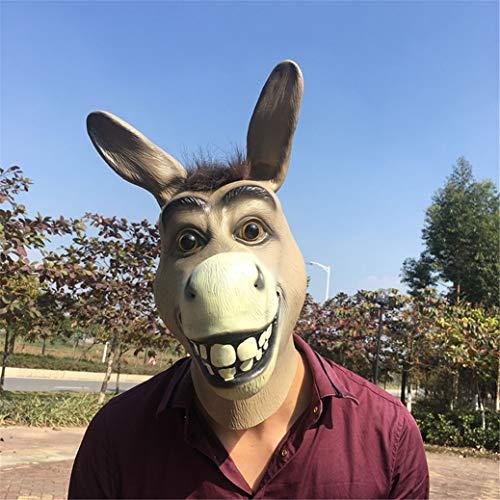 LYFWL Funny Adult Creepy Lustiger Esel-Pferdekopf-Maske Aus Latex Halloween Tiere Cosplay Zoo Props Partei-Festival-Kostümball-Maske