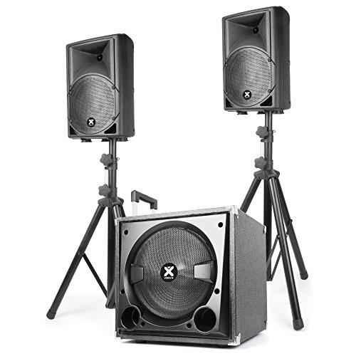 Vonyx VX800BT - 2.1-Aktiv-Lautsprecher-Set, PA Anlage, Soundanlage, 1 x Subwoofer mit 500 W, 2X Speaker mit 300 W, Bluetooth, USB und SD, Bass- und Treble-Regler, ABS-Gehäuse, schwarz