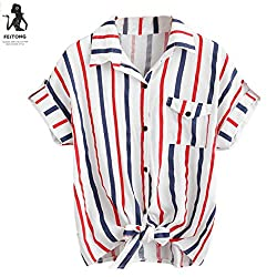 Wawer Womens Stripe Blouse Ladies Blouses Short Sleeve Shirt Women Shirt Great For Party/Daily/Beach by Wawer
