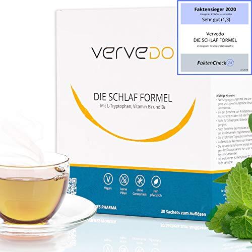 Vervedo Schlafformel - natürliches und rezeptfreies Schlafmittel mit Apothekenzulassung - 500mg reines L-Tryptophan + Vitamine und Pflanzenextrakte - Aktivator für körpereigenes Melatonin