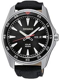 Seiko Herren-Armbanduhr Solar Analog Quarz Leder SNE393P2