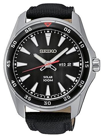 Seiko - SNE393P2 - Solar - Montre Homme - Automatique Analogique - Cadran Noir - Bracelet Tissu Noir
